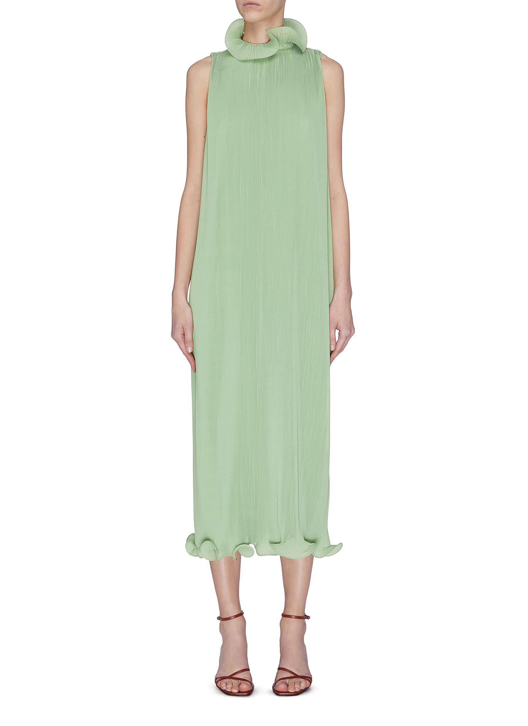 shop Tibi Flare collar plissé sleeveless dress online