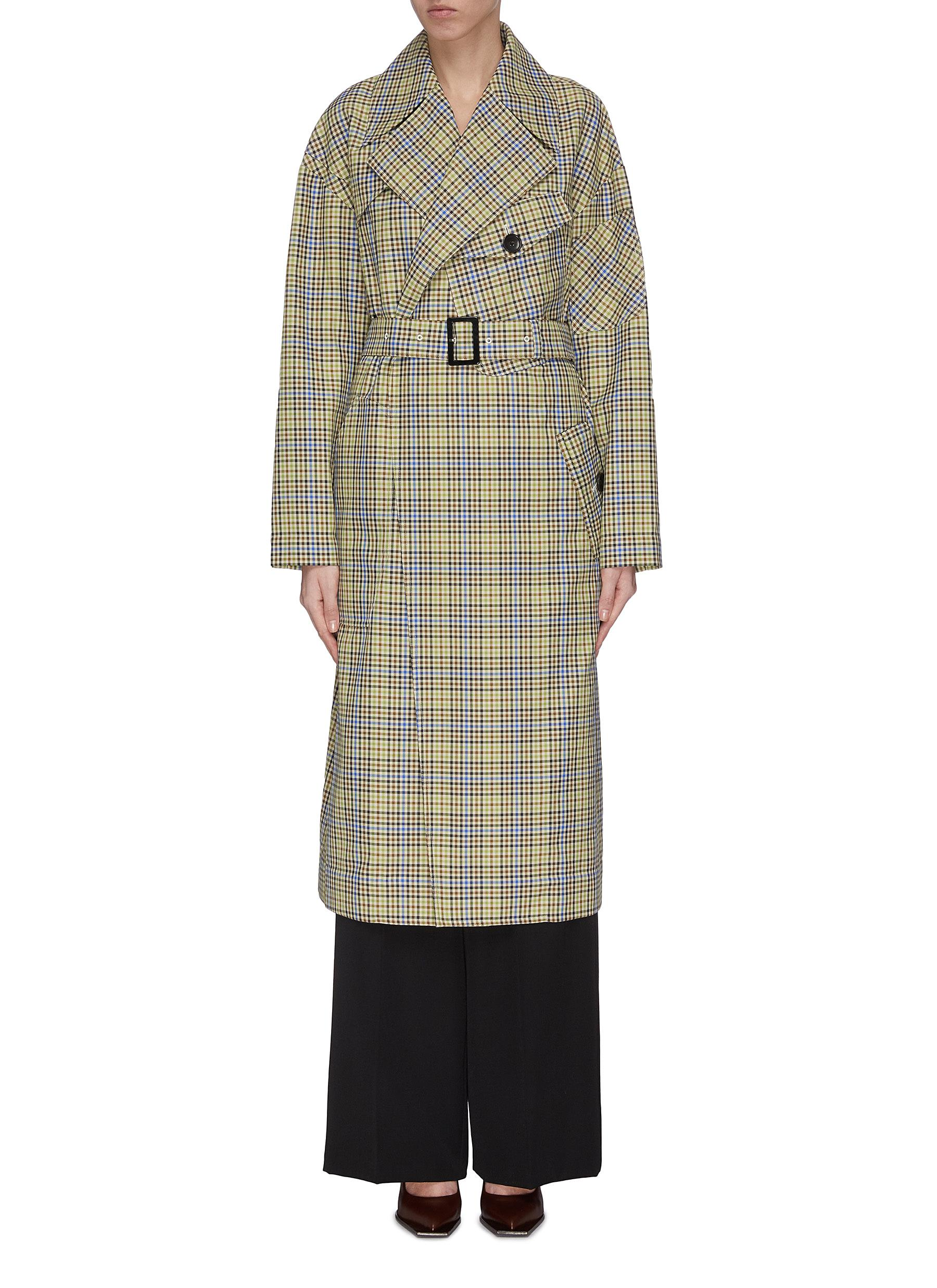 shop Tibi Recycled check trench coat online