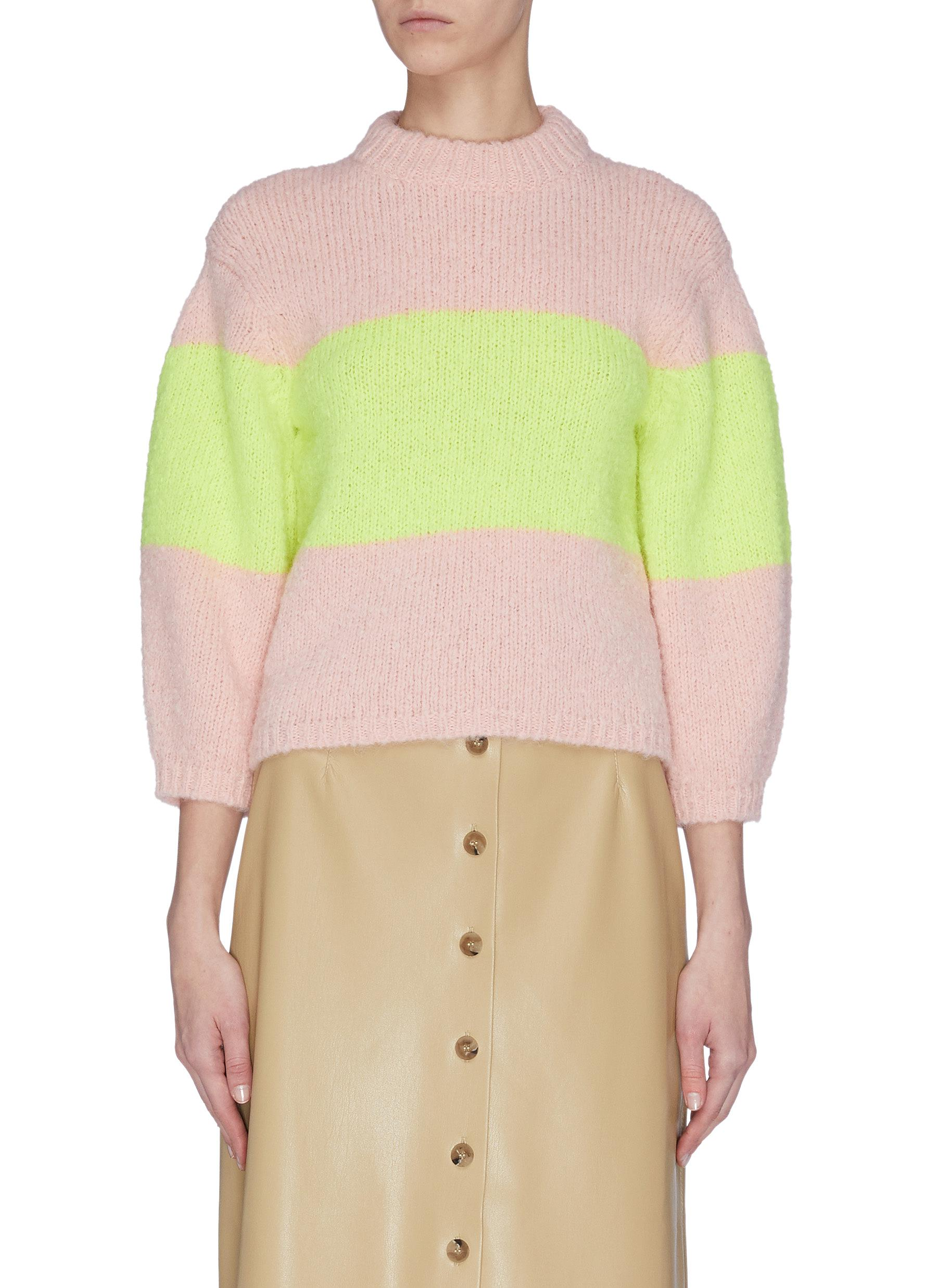Buy Tibi Knitwear 'Cozette' colourblock intarsia alpaca wool blend sweater