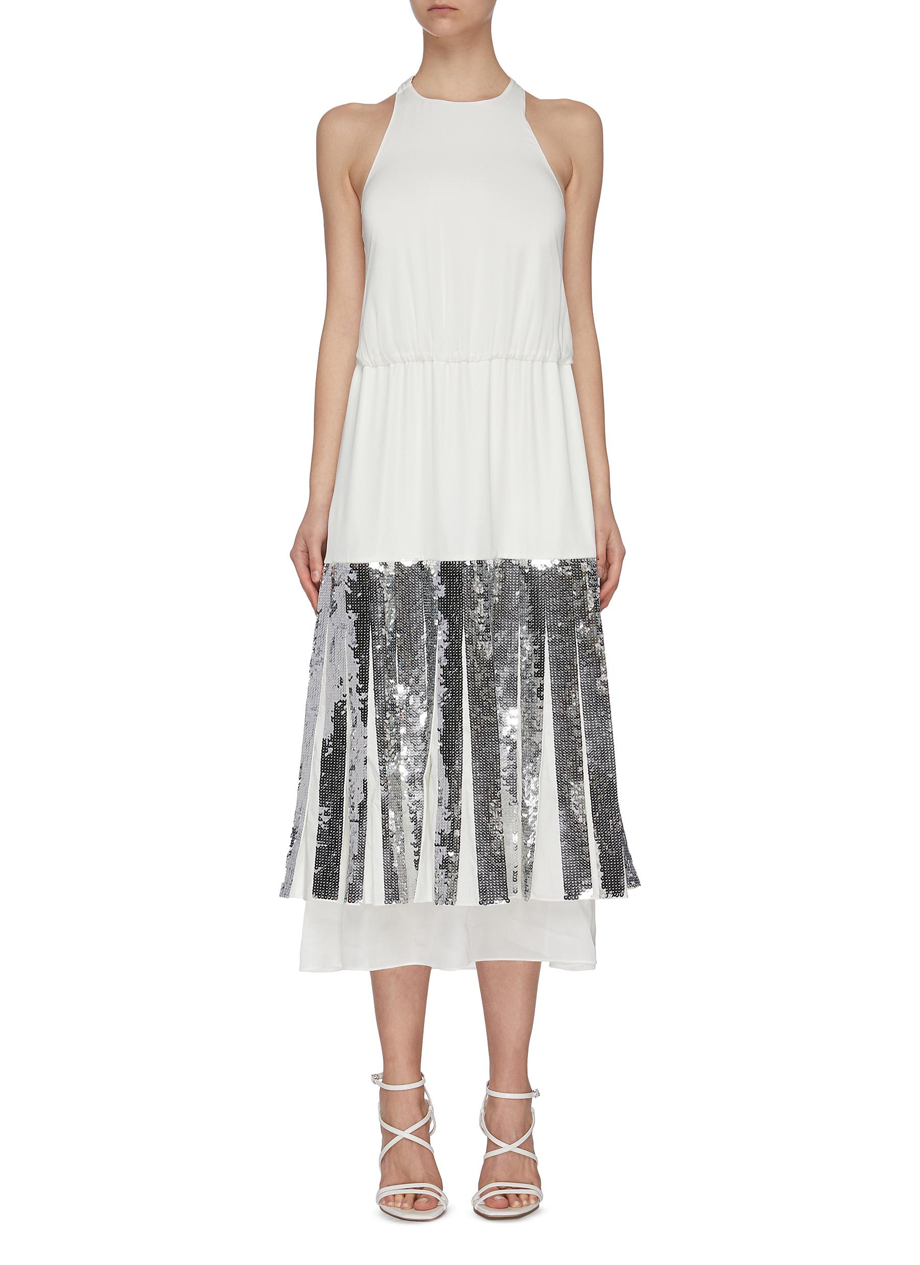 Buy Tibi Dresses 'Claude' sequin layered halter dress