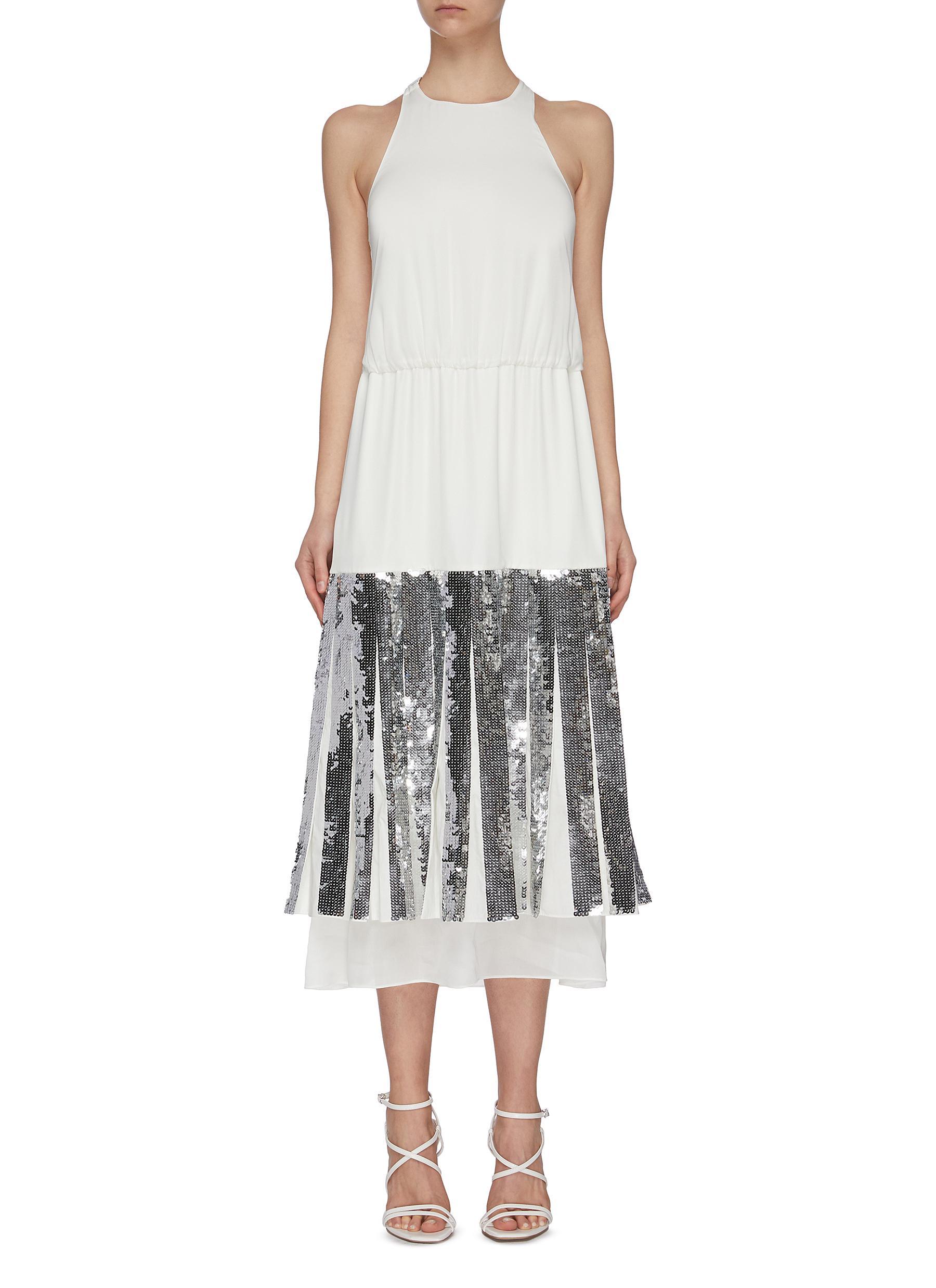 shop Tibi 'Claude' sequin layered halter dress online