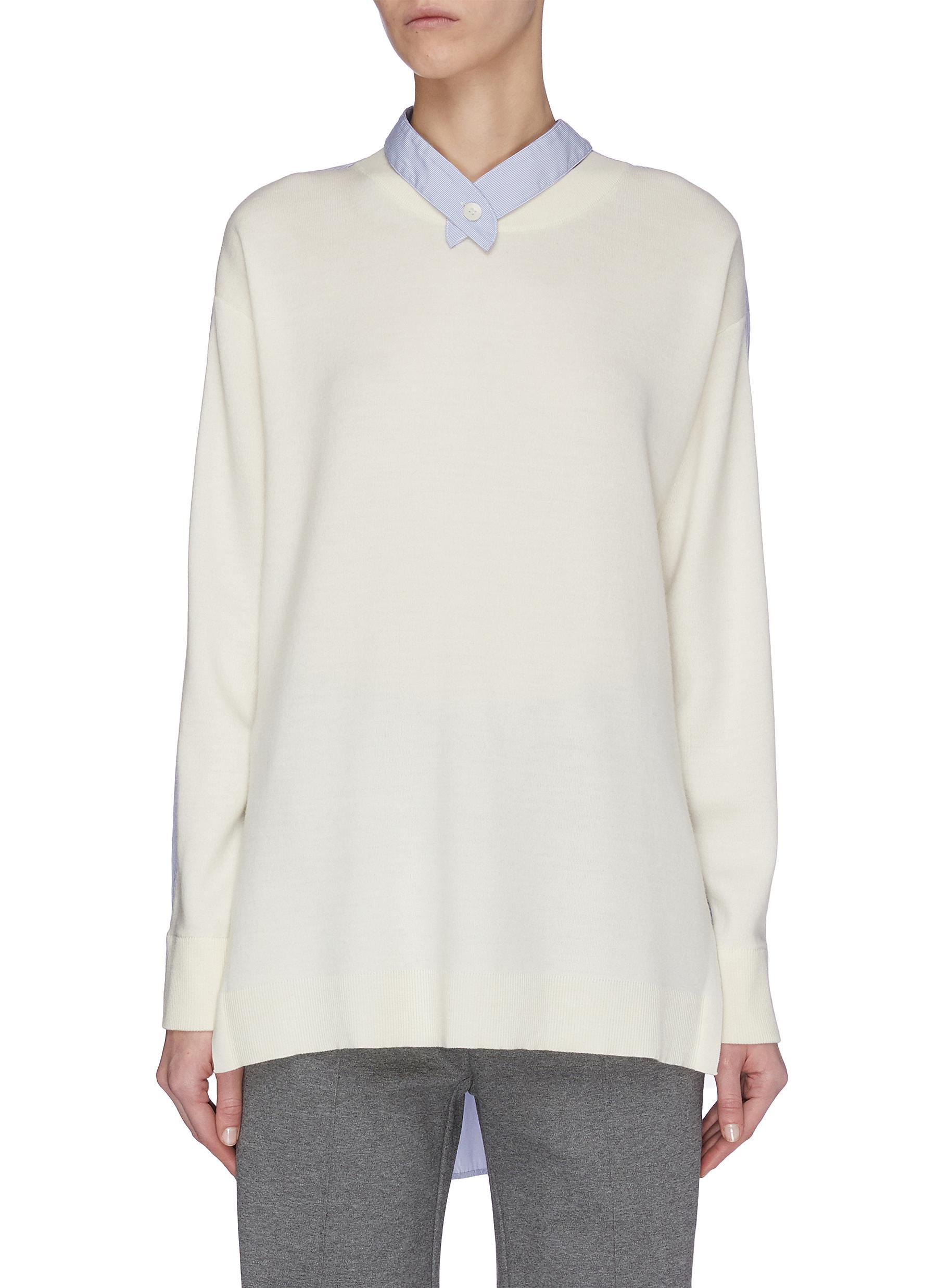 shop Tibi Shirt back panel woven sweater online