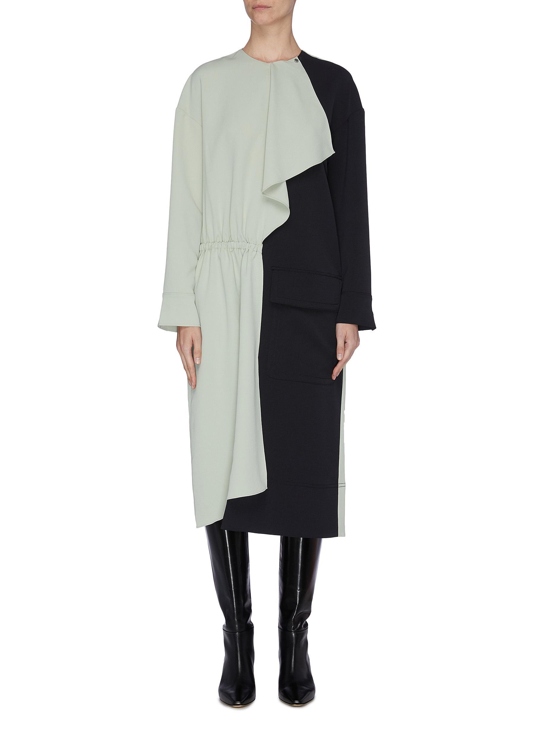 Buy Tibi Dresses Colourblock drape twill dress