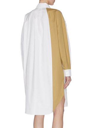 Back View - Click To Enlarge - TIBI - Colourblock double layer pocket dress