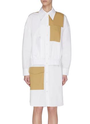 Main View - Click To Enlarge - TIBI - Colourblock double layer pocket dress