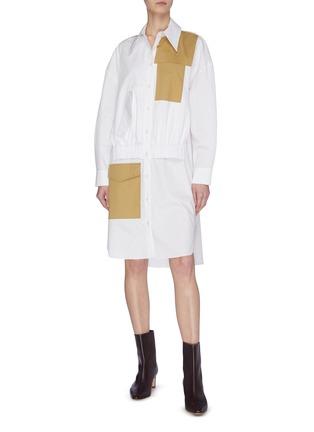 Figure View - Click To Enlarge - TIBI - Colourblock double layer pocket dress