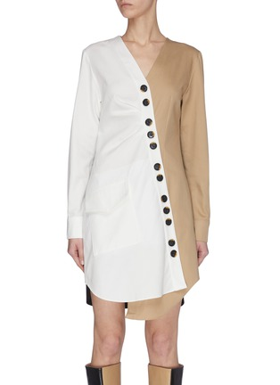 Main View - Click To Enlarge - TIBI - 'Harrison' chino asymmetric shirt dress
