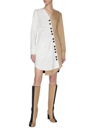 Figure View - Click To Enlarge - TIBI - 'Harrison' chino asymmetric shirt dress