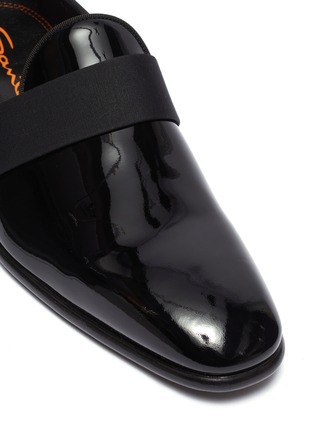 Detail View - Click To Enlarge - SANTONI - 'Moore' grosgrain band patent leather loafers