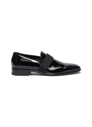 Main View - Click To Enlarge - SANTONI - 'Moore' grosgrain band patent leather loafers