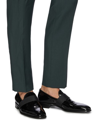 Figure View - Click To Enlarge - SANTONI - 'Moore' grosgrain band patent leather loafers