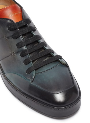 Detail View - Click To Enlarge - SANTONI - Burnished leather sneakers