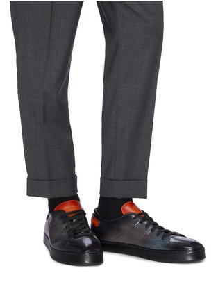 Figure View - Click To Enlarge - SANTONI - Burnished leather sneakers