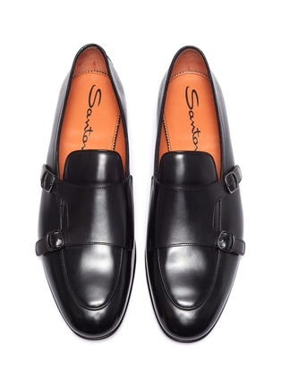 Detail View - Click To Enlarge - SANTONI - 'Carlos' apron front double monk strap leather loafers