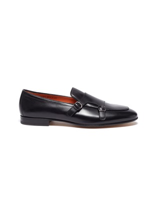 Main View - Click To Enlarge - SANTONI - 'Carlos' apron front double monk strap leather loafers