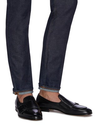Figure View - Click To Enlarge - SANTONI - 'Carlos' apron front double monk strap leather loafers
