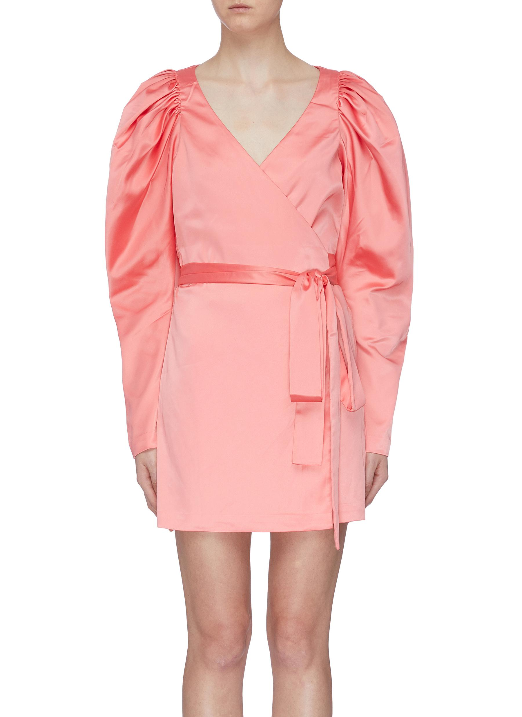 Number 31 belted puff sleeve mini wrap dress by Rotate