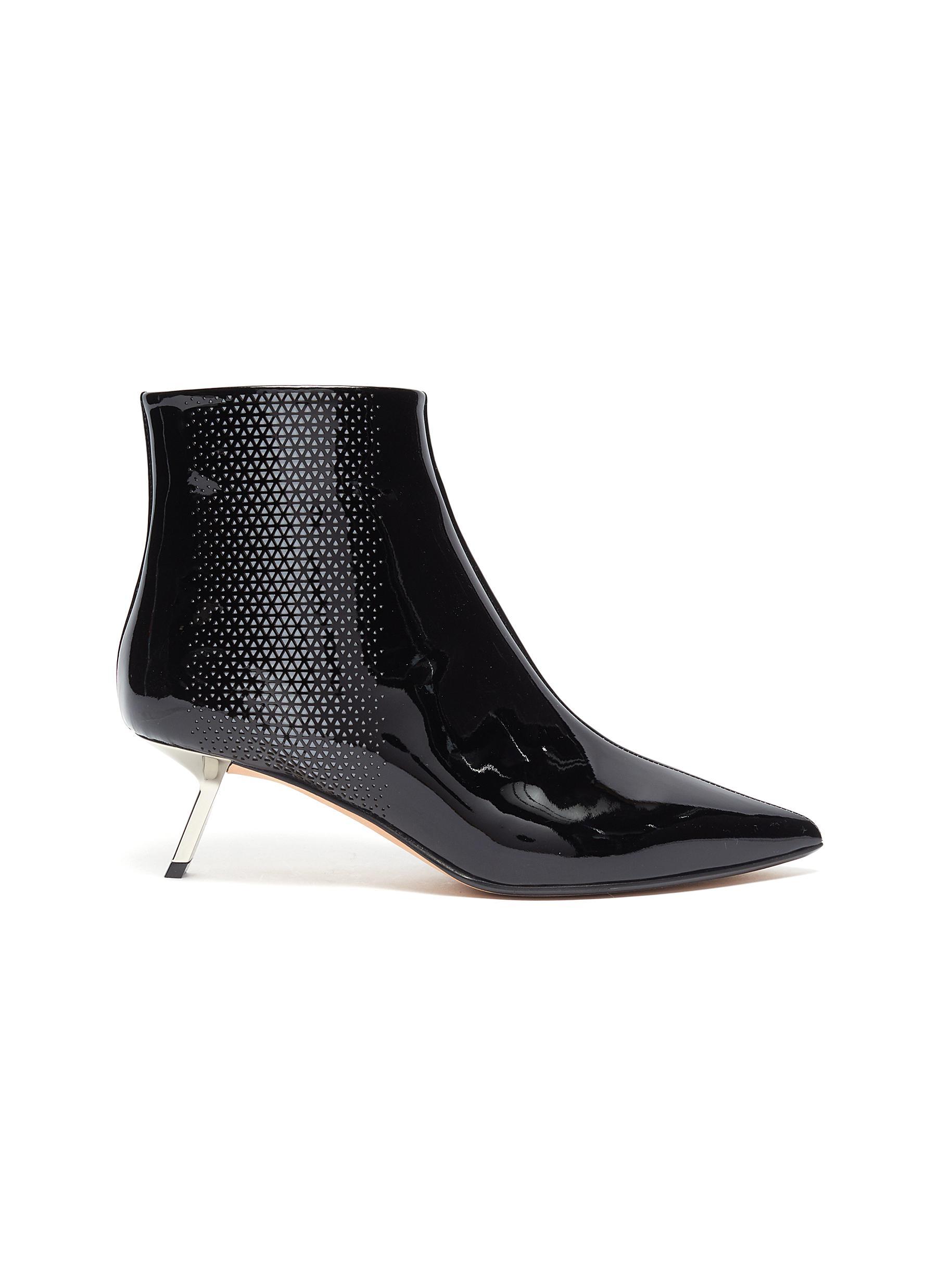 Libra cutout triangle patent leather ankle boots by Alchimia Di Ballin