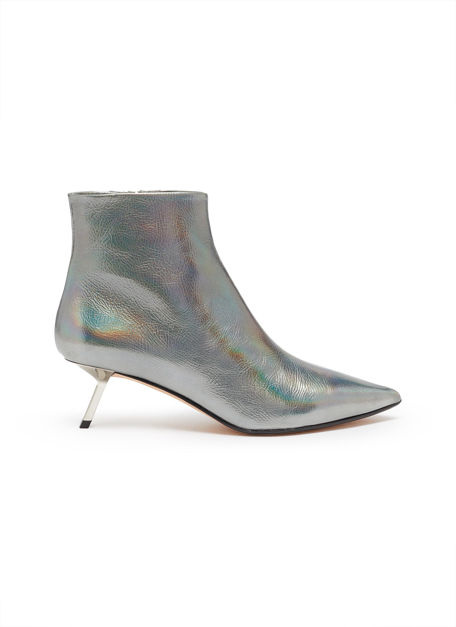 Quake holographic leather ankle boots by Alchimia Di Ballin