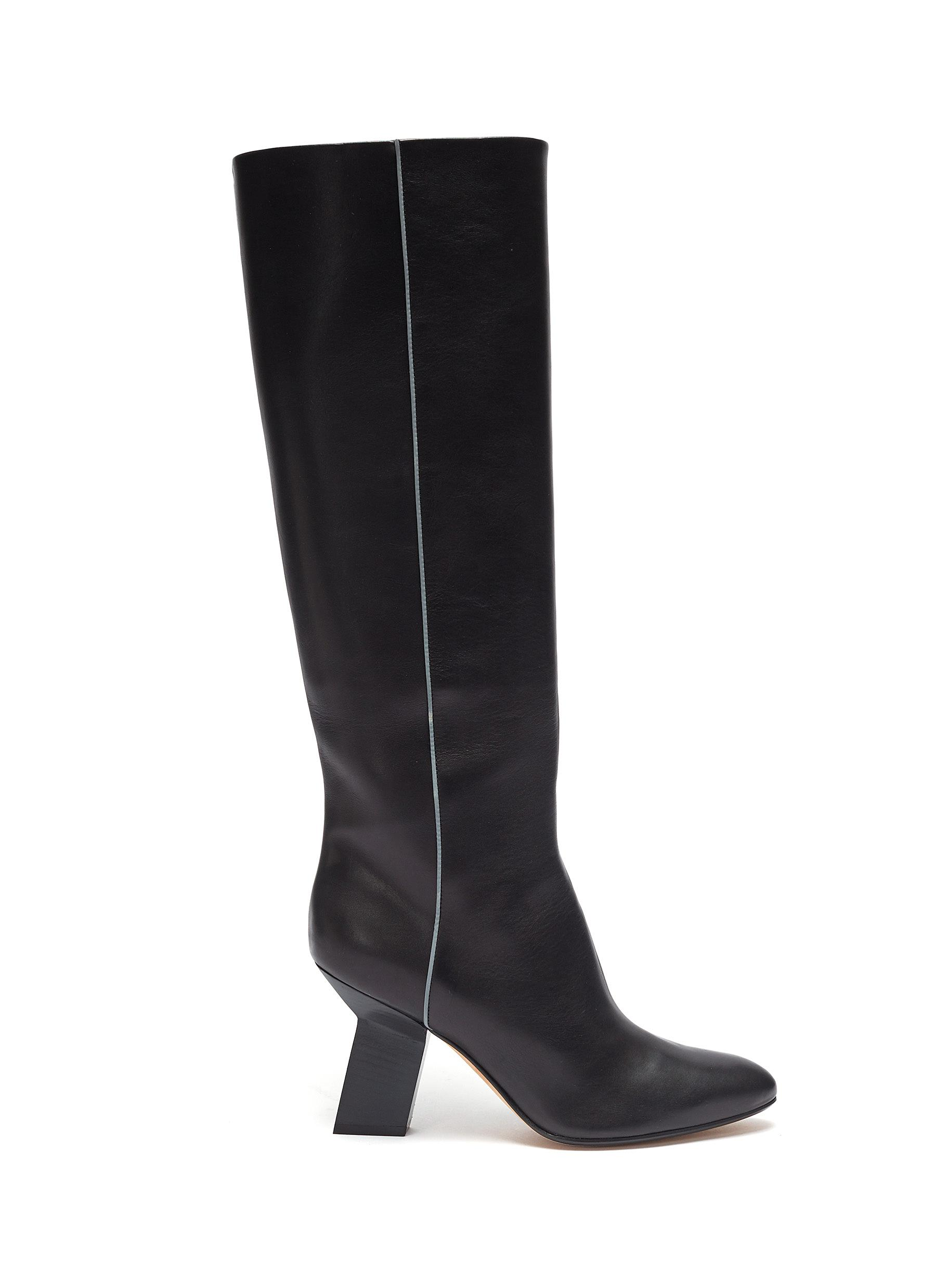 Angular heel thigh high leather boots by Alchimia Di Ballin