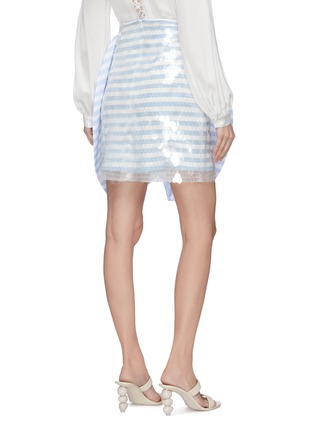 Back View - Click To Enlarge - LEAL DACCARETT - 'Flippa' bow front stripe sequin mini skirt