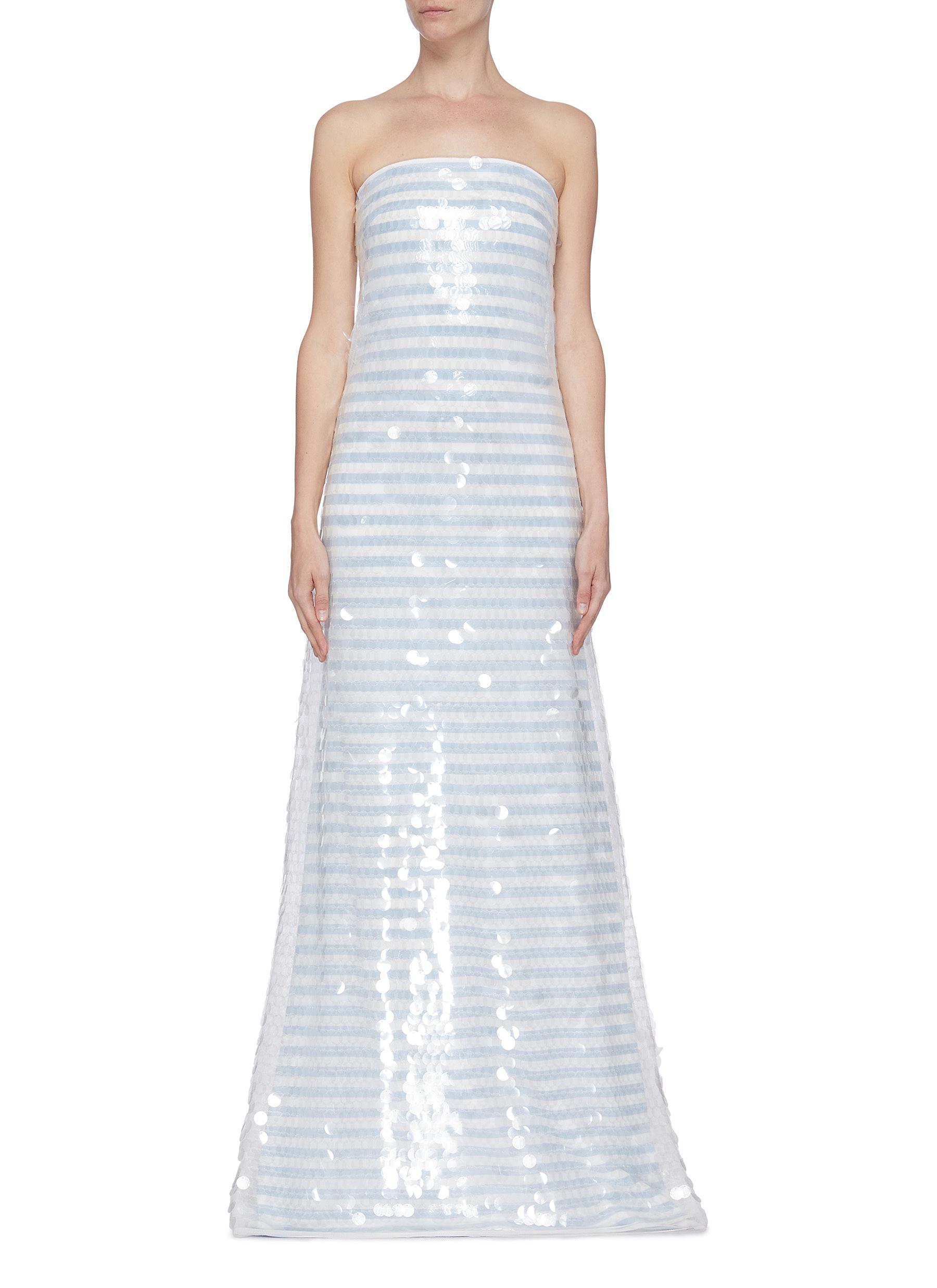 shop Leal Daccarett 'Noches De Verano' sequin strip strapless gown online