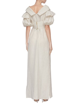 Back View - Click To Enlarge - LEAL DACCARETT - 'Anastasia' twisted front puff sleeve maxi dress