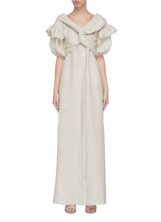 Main View - Click To Enlarge - LEAL DACCARETT - 'Anastasia' twisted front puff sleeve maxi dress
