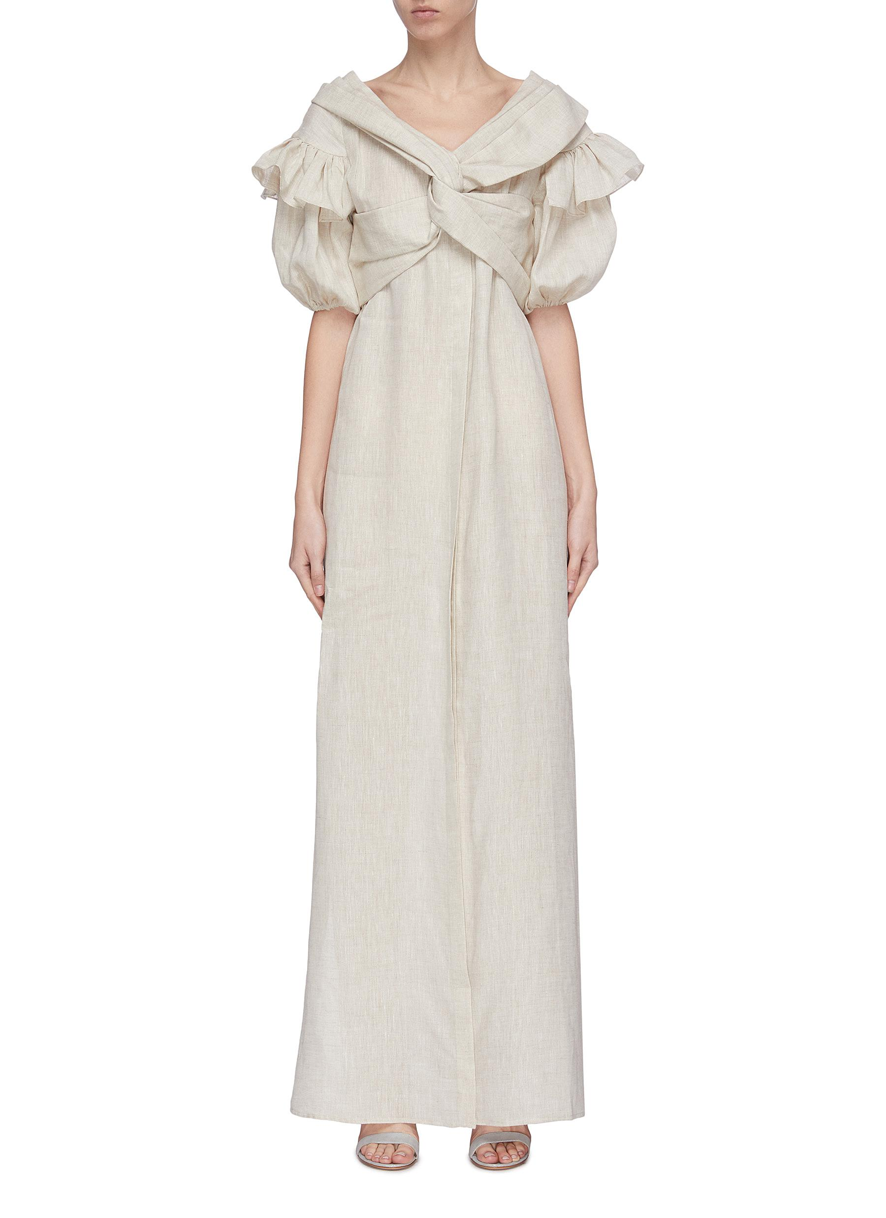 shop Leal Daccarett 'Anastasia' twisted front puff sleeve maxi dress online