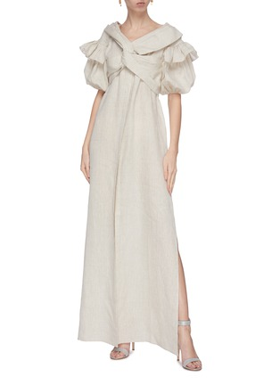 Figure View - Click To Enlarge - LEAL DACCARETT - 'Anastasia' twisted front puff sleeve maxi dress