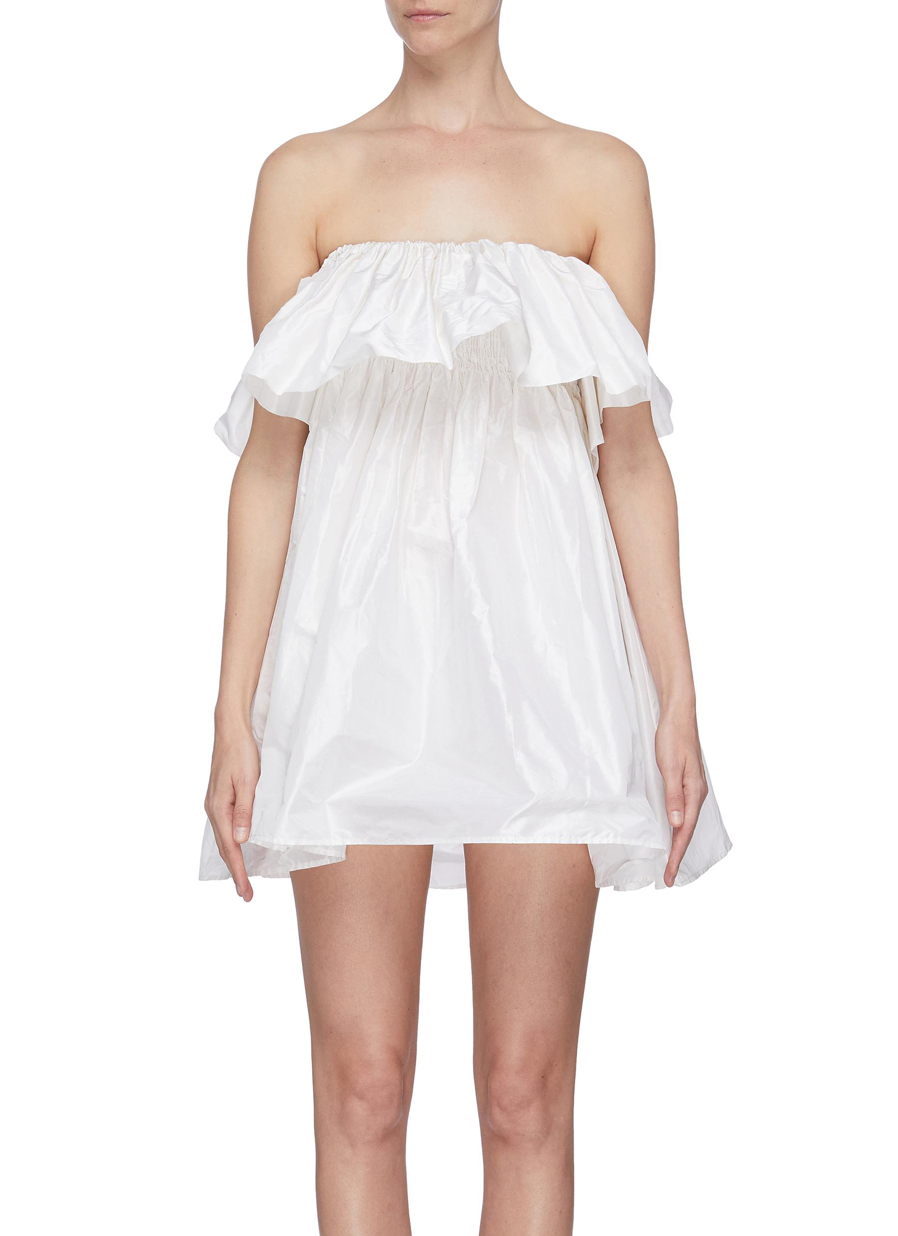 shop Leal Daccarett 'Perlas Blancas' ruffle sleeveless dress online