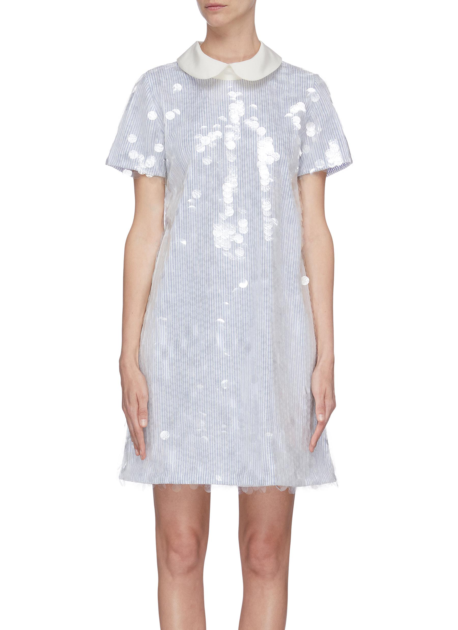 shop Leal Daccarett 'Aguacero' sequin peter pan collar mini dress online