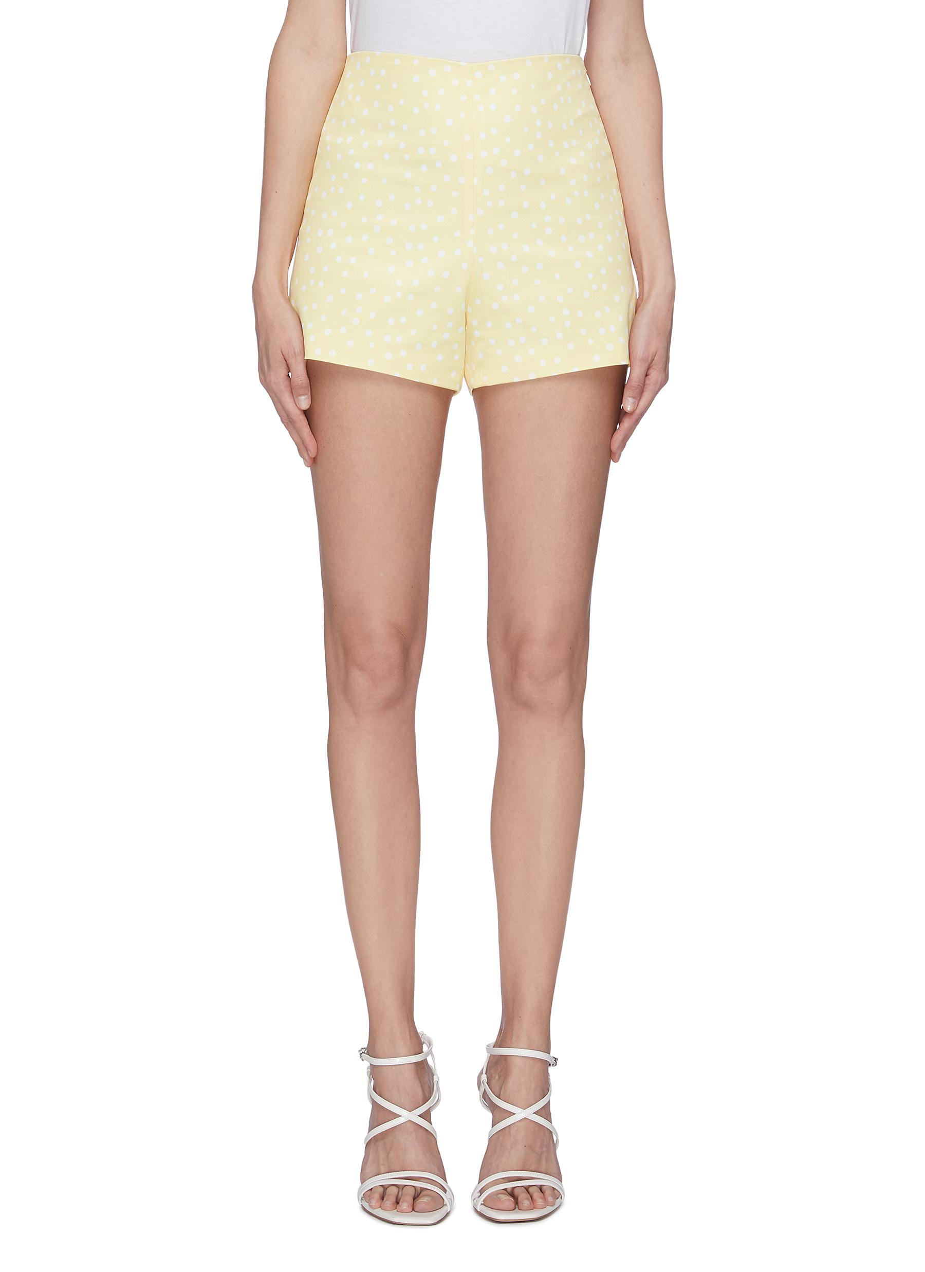 shop Leal Daccarett 'Golden' polka dot high rise shorts online