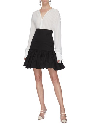 Figure View - Click To Enlarge - LEAL DACCARETT - 'Oye Camo' ruffle hem mini skirt