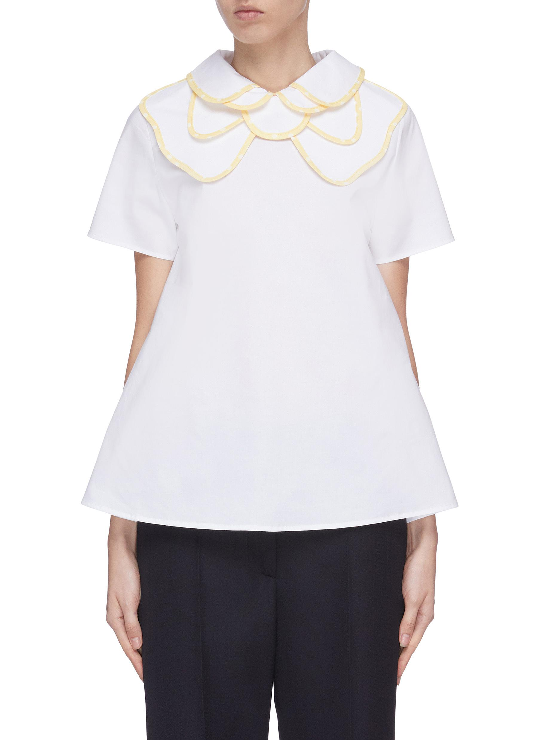 Buy Leal Daccarett Tops 'Brilliante' layered collar short sleeve top