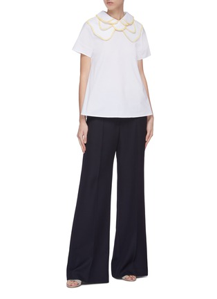 Figure View - Click To Enlarge - LEAL DACCARETT - 'Brilliante' layered collar short sleeve top