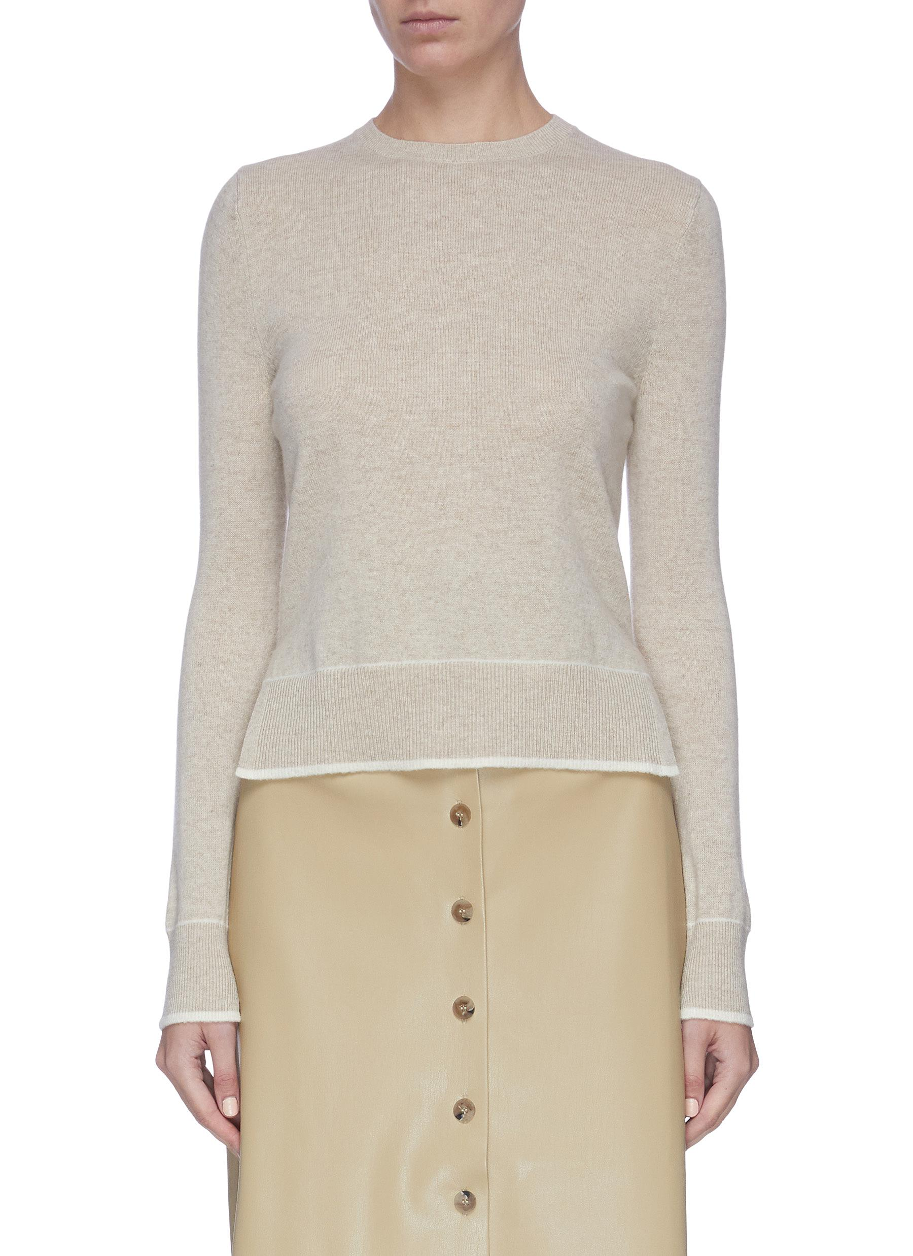 Buy Equil Knitwear Contrast seam cashmere sweater