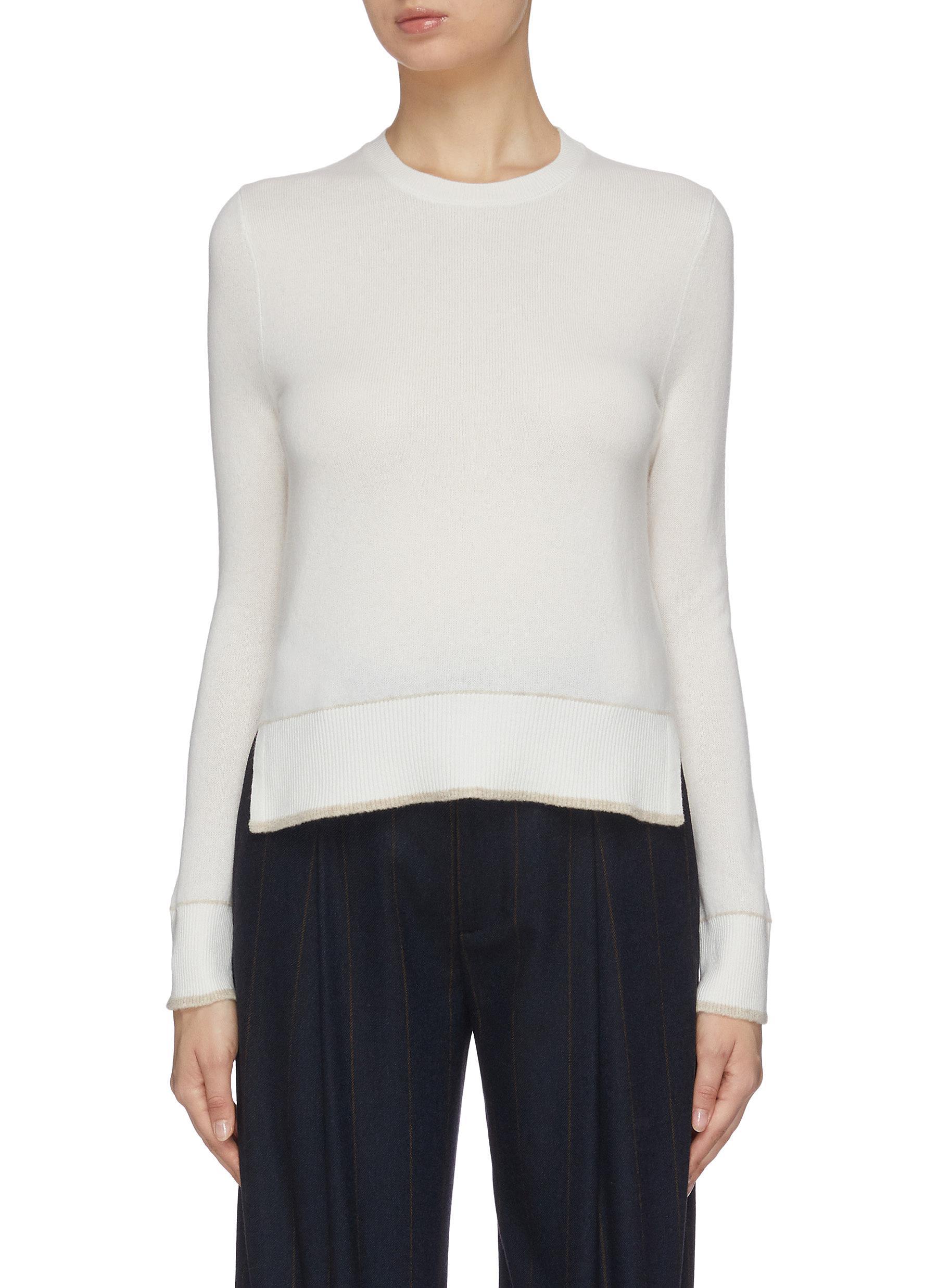 shop Equil Crew neck contrast trim cashmere sweater online