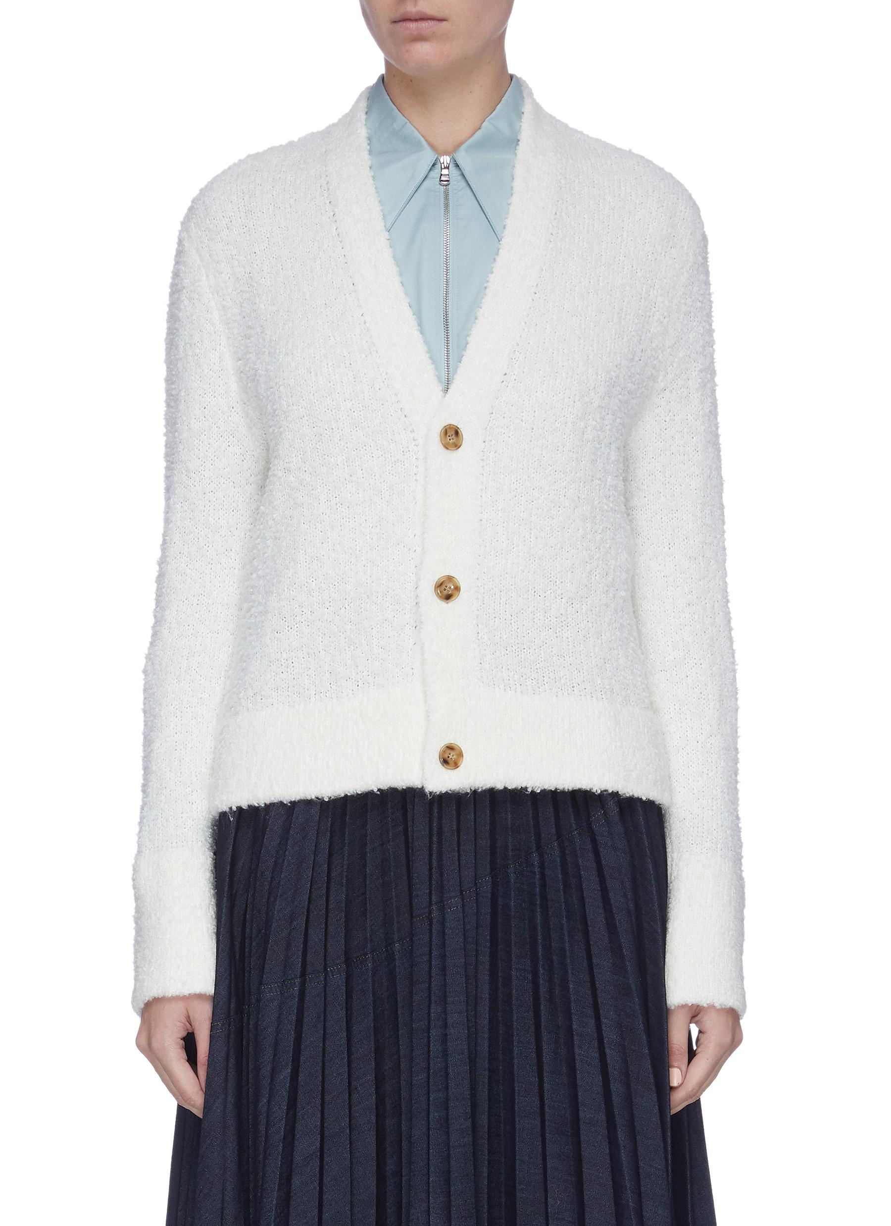 shop Equil Contrast button wool blend cardigan online