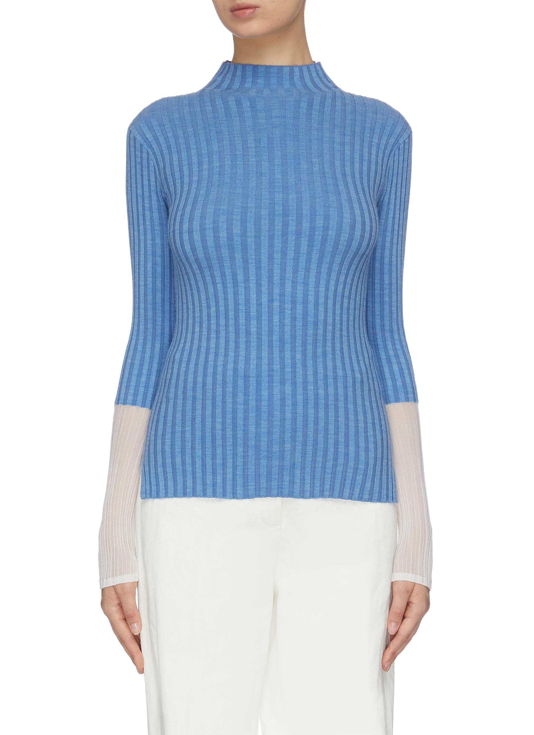 Buy Equil Knitwear High neck contrast sheer panel ribbed wool blend sweater