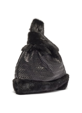 Detail View - Click To Enlarge - SIMONETTA RAVIZZA - 'Furrissima' woven leather panel mink fur sac bag