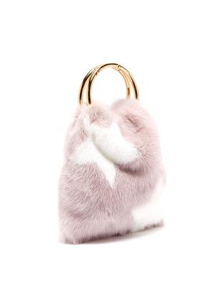 Detail View - Click To Enlarge - SIMONETTA RAVIZZA - 'Furrsac' ring handle star print mink fur bag