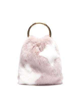 Main View - Click To Enlarge - SIMONETTA RAVIZZA - 'Furrsac' ring handle star print mink fur bag