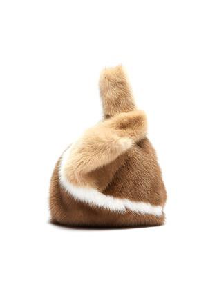 Main View - Click To Enlarge - SIMONETTA RAVIZZA - 'Furrissima Baby' colourblock mink fur sac bag