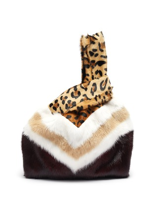 Main View - Click To Enlarge - SIMONETTA RAVIZZA - 'Furrissima Baby' mixed print mink fur sac bag