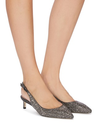 Figure View - Click To Enlarge - PEDDER RED - 'Taleen' strass glitter slingback pumps