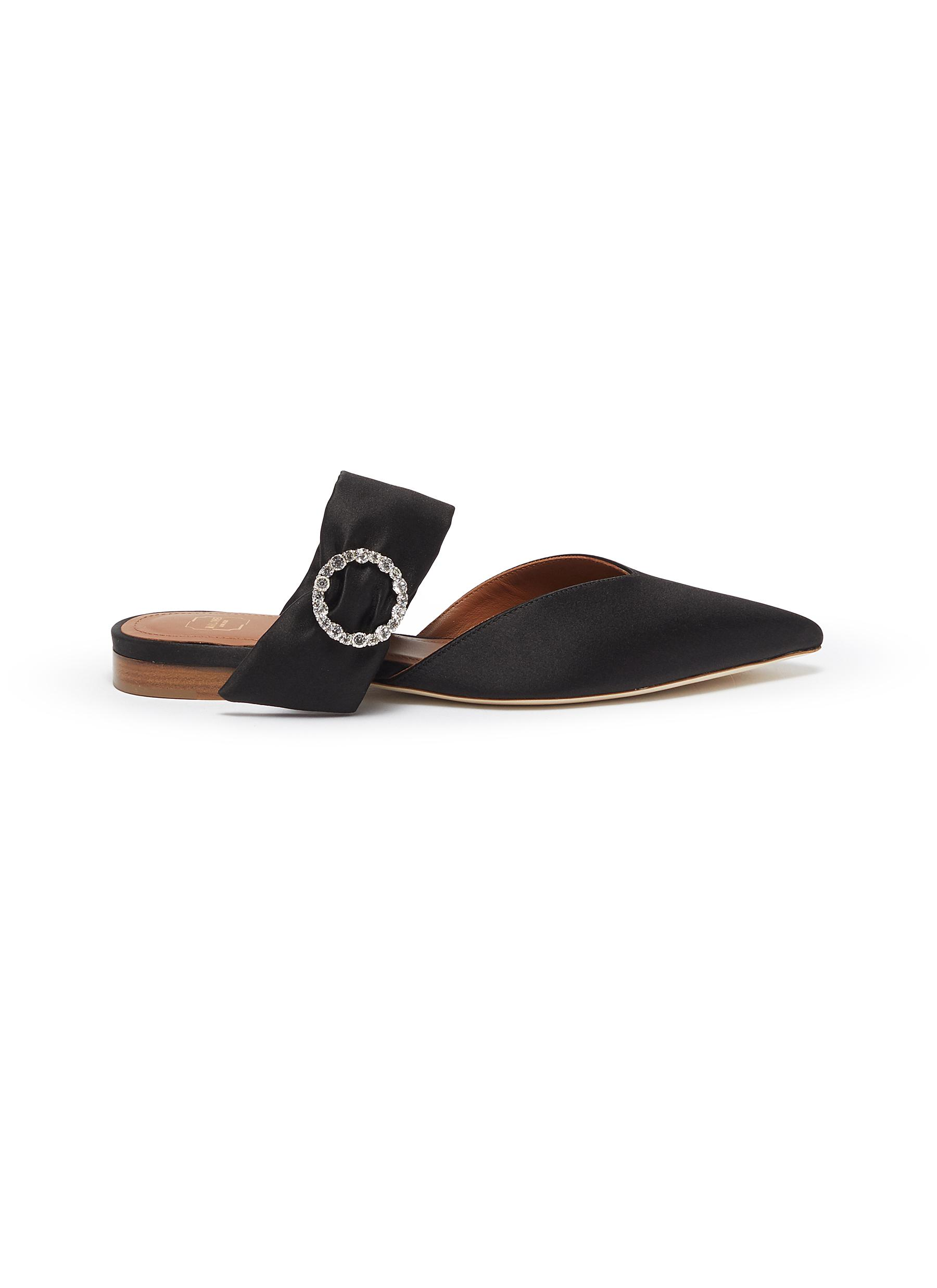 Maite glass crystal buckle satin slides by Malone Souliers