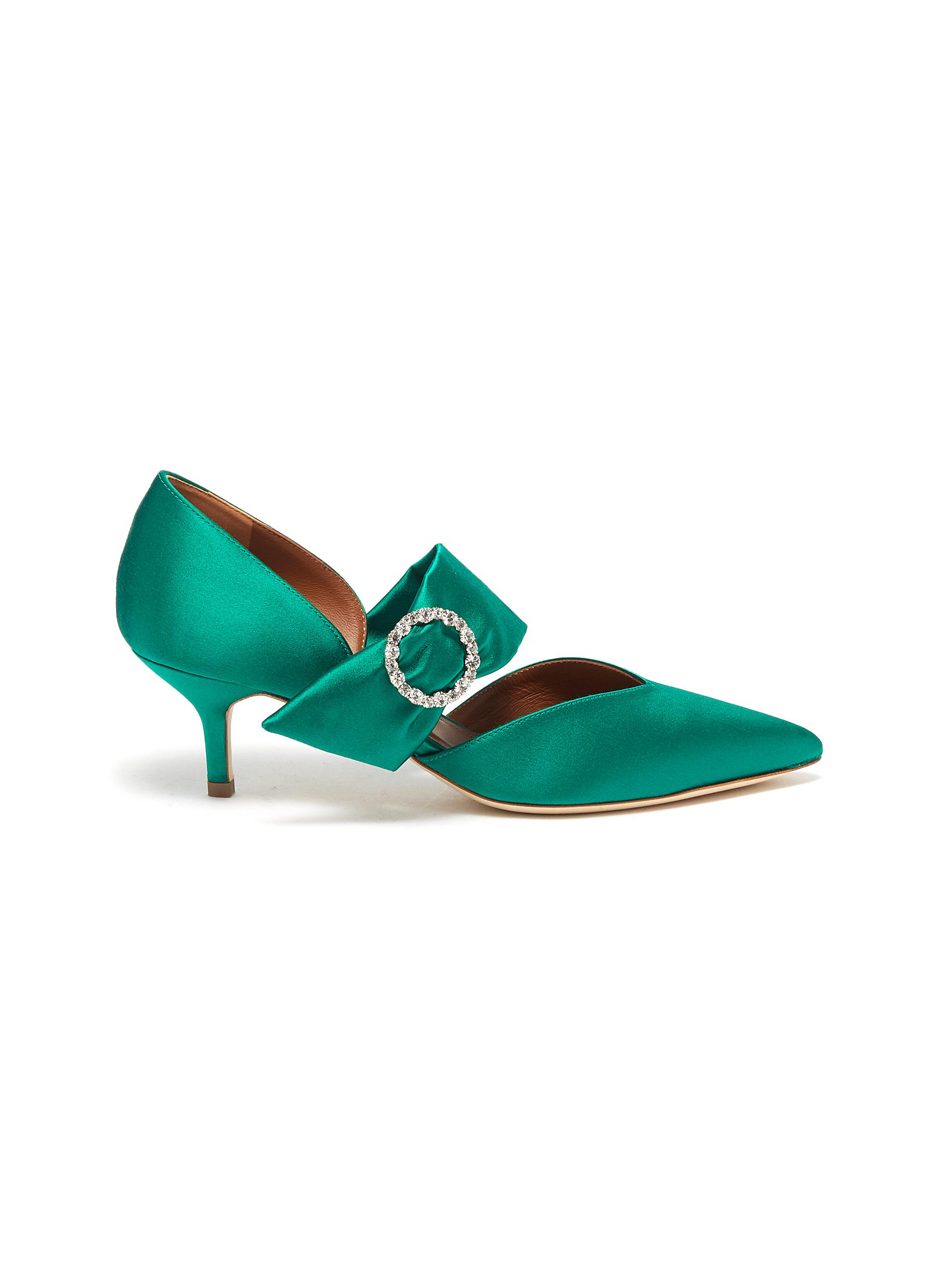 Maite glass crystal buckle satin pumps by Malone Souliers