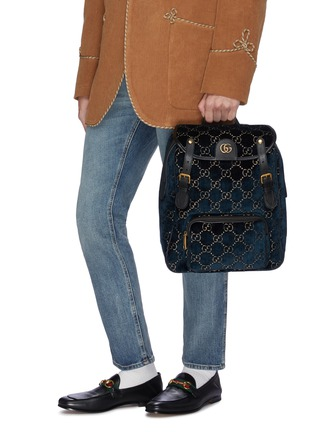 Front View - Click To Enlarge - GUCCI - GG logo embroidered small velvet backpack