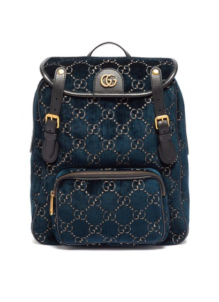 Main View - Click To Enlarge - GUCCI - GG logo embroidered small velvet backpack